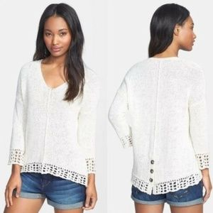 Lucky Brand Issy Mix Stitch Pullover Cream Sweater
